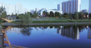 Houten brug in park stock footage