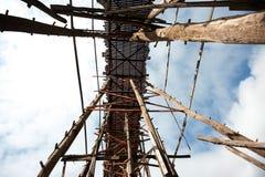 Houten brug in Sangkhaburi Stock Fotografie