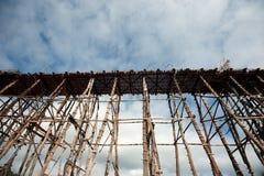 Houten brug in Sangkhaburi Stock Foto