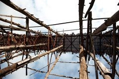Houten brug in Sangkhaburi Stock Foto's