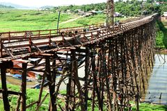 Houten brug in Sangkhaburi Royalty-vrije Stock Afbeelding
