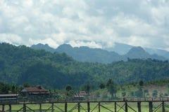 Houten brug in Sangkhaburi Royalty-vrije Stock Fotografie