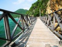 Houten Brug seacape in koh lan, Thailand, uitstekende toon Royalty-vrije Stock Afbeelding
