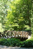 Houten brug in Sofiyivsky-Park Botanisch Tuinarboretum in Uman, Cherkasy Oblast, de Oekraïne stock foto's