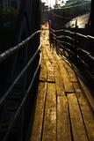 Houten brug in Vang Vieng, Laos Royalty-vrije Stock Foto's