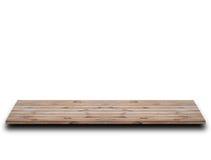 Houten bruine lege plank op witte achtergrond Stock Fotografie