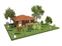 Houten Buitenhuis met Tuin en Bomen Stock Afbeeldingen