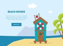 Houten Bungalow op Tropische Kust, Overzees Strand Mooi Landschap, de Banner van de Kustvakantie, de Vector van het Landingspagin stock illustratie