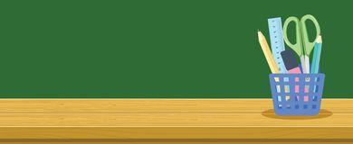 Houten Bureau en Kantoorbehoeftenmand voor Schoolstudenten, Onderwijs Achtergrondbannerconcept royalty-vrije illustratie