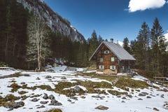 Houten Cabine in de Alpen Stock Foto's