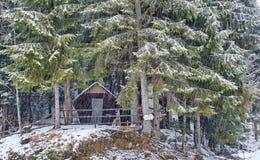 Houten cabine in het bos op wintertijd stock fotografie