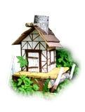 Houten cabine in het park Stock Foto's