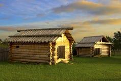 Houten cabines stock foto's