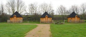 Houten cabines stock fotografie