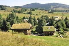 Houten chalet met een dak met gras in een dorp in Pyrenee royalty-vrije stock foto