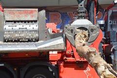 Houten chipper ontvezelmachine Een maaimachine is een type van zwaar bosbouwvoertuig dat in besnoeiing-aan-lengte registrerenverr royalty-vrije stock foto's