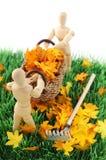 Houten cijferschoonmaakbeurt de tuin van de herfstverlof Royalty-vrije Stock Foto