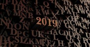 2019 - Houten 3D teruggegeven brieven/bericht Royalty-vrije Stock Afbeelding