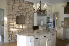 Houten de kabinetten roestvrije ijskast van de keuken Stock Afbeeldingen
