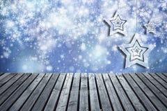 Houten de plankenachtergrond van de Kerstmisdecoratie Royalty-vrije Stock Foto's