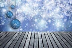 Houten de plankenachtergrond van de Kerstmisdecoratie Royalty-vrije Stock Afbeelding
