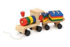 Houten de stoomlocomotief van kinderen een stuk speelgoed Stock Foto
