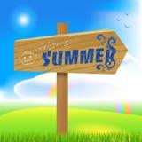 Houten de zomerteken, pijl Stock Afbeeldingen