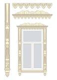 Houten decoratie voor het venster. Royalty-vrije Stock Fotografie