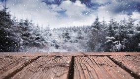 Houten dek en sneeuwbomen stock footage