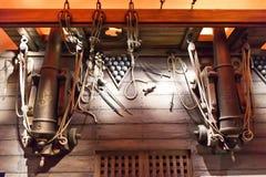 Houten dek van historisch militair schip Royalty-vrije Stock Fotografie