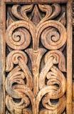 Houten detail van de middeleeuwse Noorse kerk in Heddal Royalty-vrije Stock Foto's