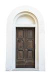 Houten deur in een oud Italiaans die huis, op witte achtergrond wordt geïsoleerd stock fotografie