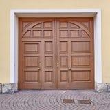 Houten deur, Leipzig Duitsland Stock Afbeeldingen