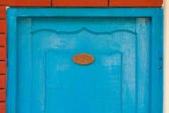 Houten deur met aantalteken Royalty-vrije Stock Fotografie