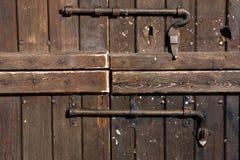houten deur met doorlock Stock Fotografie