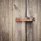 Houten deur met slot Stock Afbeelding