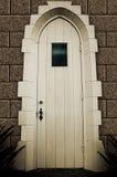 Houten deur met venster Stock Afbeeldingen