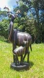 Houten die Beeldhouwwerk door Zuid-Afrikaan wordt gemaakt royalty-vrije stock foto's