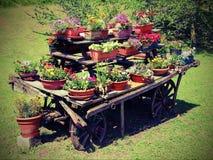 houten die blokkenwagen met vele potten van bloemen in de zomer wordt verfraaid Stock Fotografie