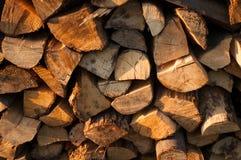 Houten die boomstammen voor brandhout voor de winter worden verzameld stock foto's