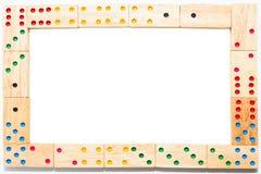 Houten die dominokader op witte achtergrond, het knippen weg wordt geïsoleerd royalty-vrije stock foto's