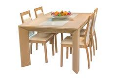 Houten die eettafel en stoelen op witte achtergrond wordt geïsoleerd Royalty-vrije Stock Fotografie