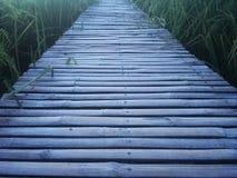 Houten die gang van droge bamboe en verbinding door spijker wordt gemaakt De manier gaat rechtstreeks door padieveld royalty-vrije stock fotografie