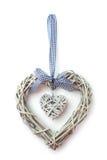 Houten die hartdecoratie op een wit wordt geïsoleerd Royalty-vrije Stock Afbeeldingen