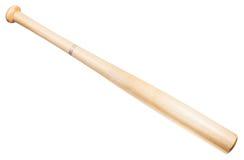 Houten die honkbalknuppel op wit wordt geïsoleerd Royalty-vrije Stock Afbeeldingen
