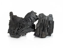 Houten die houtskool op witte achtergrond wordt geïsoleerd Stock Afbeelding