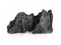 Houten die houtskool op witte achtergrond wordt geïsoleerd Royalty-vrije Stock Afbeeldingen