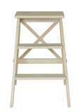 Houten die ladder op wit wordt geïsoleerd Stock Foto