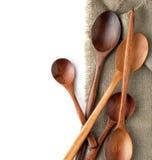 Lepels op een keukenhanddoek Royalty-vrije Stock Foto's