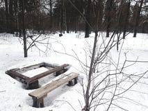 Houten die lijst en bank in de sneeuw in het bos wordt vernietigd royalty-vrije stock foto's
